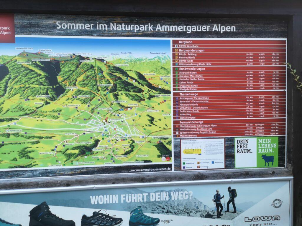 Tafel - Wanderwege rund um Bad Kohlgrub