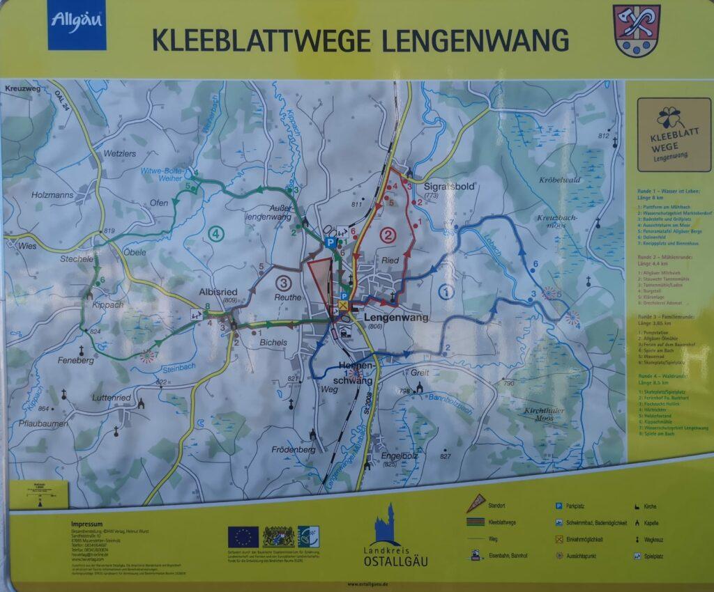 Übersicht Kleeblattwege in Lengenwang