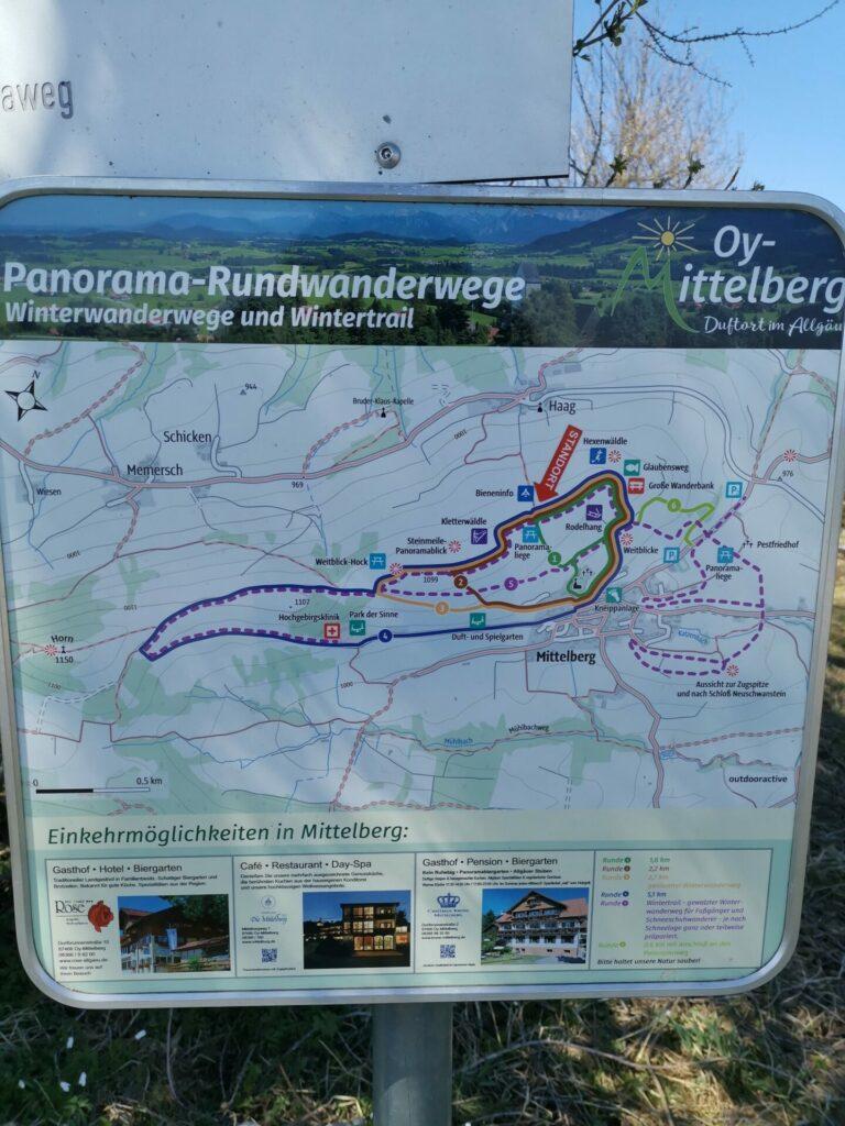 Karte Panorma-Rundwanderwege Oy-Mittelberg