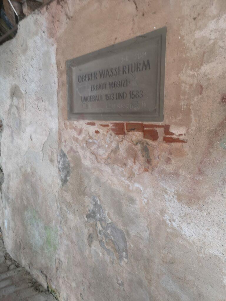 """Schild """"Alter Wasserturm"""" - Stadtmauer Nördlingen"""